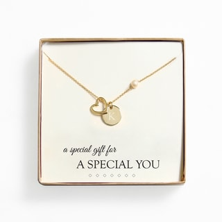Personalized 18k Gold Overlay 'A Special Gift For You' Pearl and Charm Necklace (8 mm)