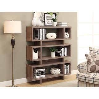 Dark Taupe 55-inch High Reclaimed-Look Modern Bookcase