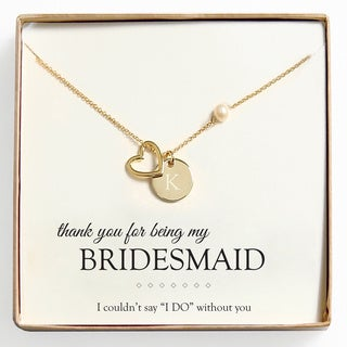 Personalized 18k Gold Overlay 'Bridesmaid Thank You' Pearl and Charm Necklace (8 mm)