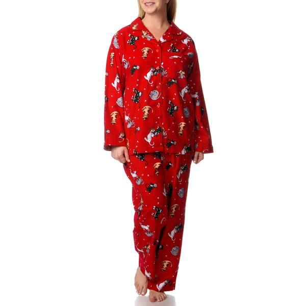 640fce6c77 Shop La Cera Women s Plus Kitty Kat Print Pajama Set - Free Shipping ...