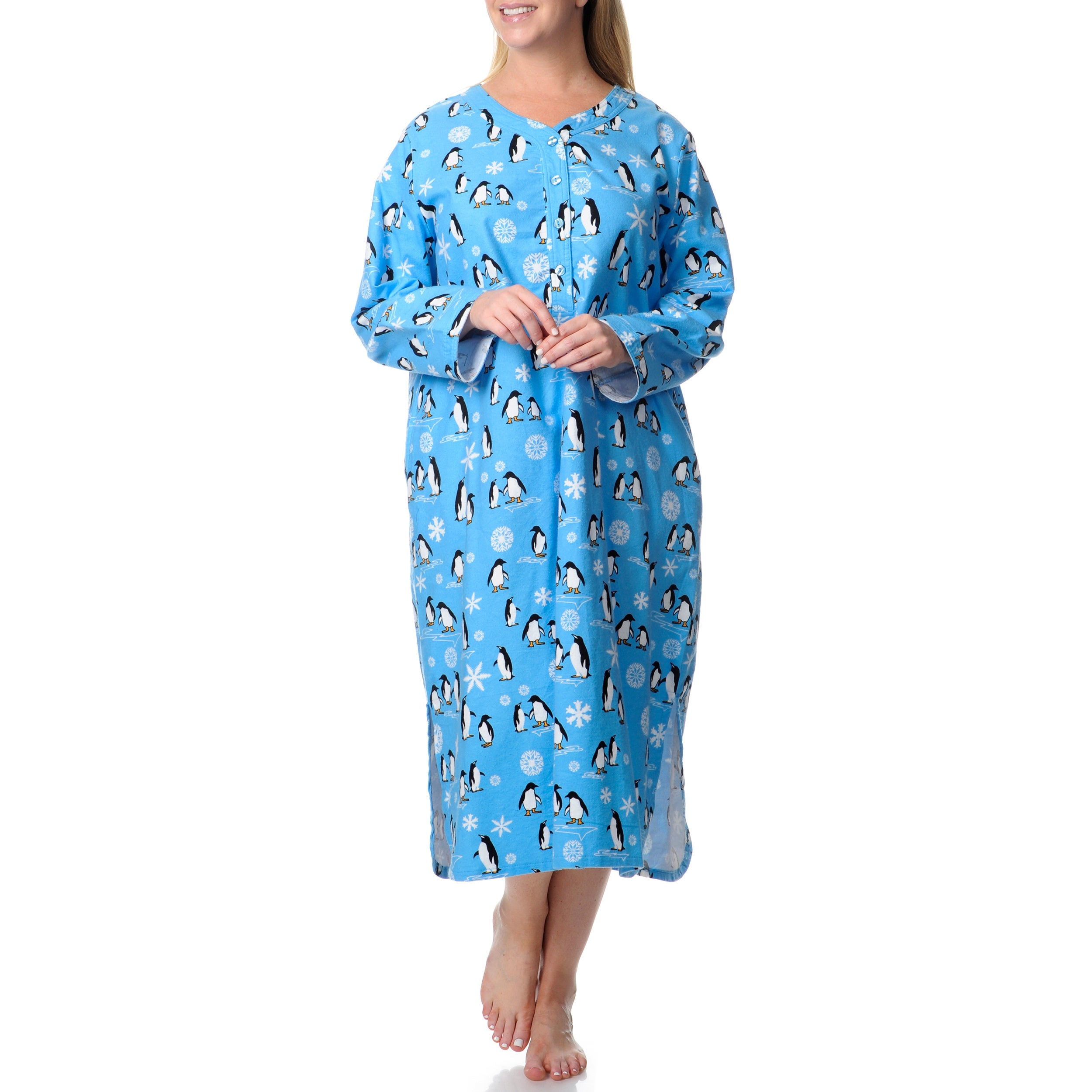 Plus Size La Cera Women's Plus Penguin Print Henley Sleep...