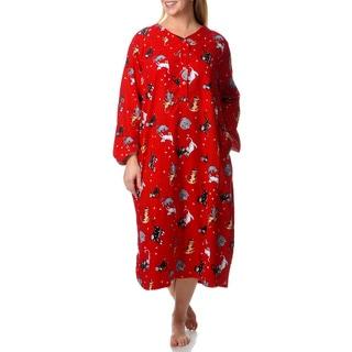 La Cera Women's Plus Kitty Kat Print Henley Sleep Shirt