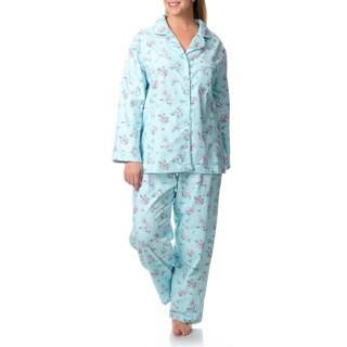 La Cera Women's Plus Floral Print Pajama Set