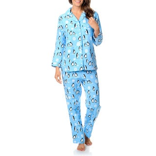 La Cera Women's Penguin Print Pajama Set