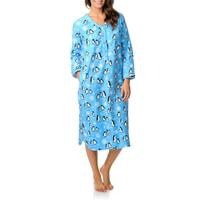 La Cera Women's Henley Penguin Print Sleep Shirt