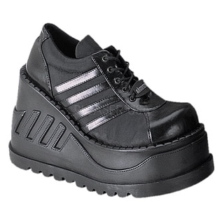 Demonia Women's 'Stomp-08' Black Lace-up Tall Platform Shoes