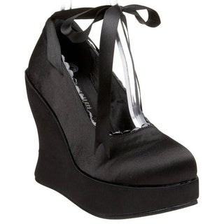 Demonia Women's 'Bravo-07' Black Satin Ankle-tie Wedges