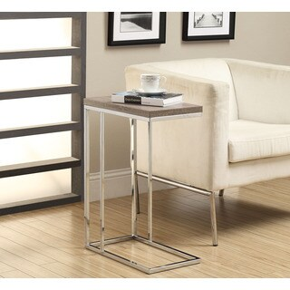 Dark Taupe Reclaimed-Look Chrome Metal Accent Table