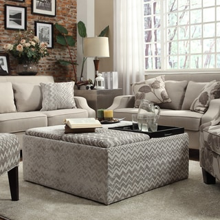INSPIRE Q Montrose Grey Chevron Storage Cocktail Ottoman