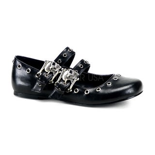 Demonia Women's Daisy-03 Black Skull Buckle Flats