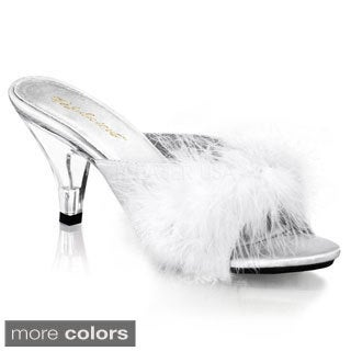 Pleaser Women's 'BELLE-301F' Heel Fur Slip-on Shoes