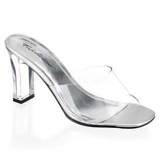 Pleaser Women's 'ROMANCE-301' Clear Square Heel Shoes