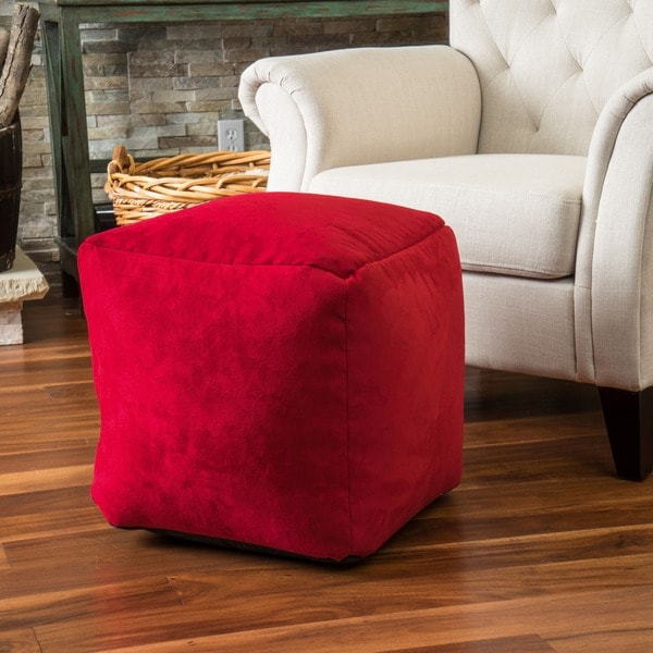 whitney faux suede beanbag cube ottoman pouf by christopher knight home free shipping today. Black Bedroom Furniture Sets. Home Design Ideas