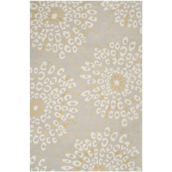 Safavieh Hand-made Capri Grey/ Ivory Wool Rug - 8' x 10'