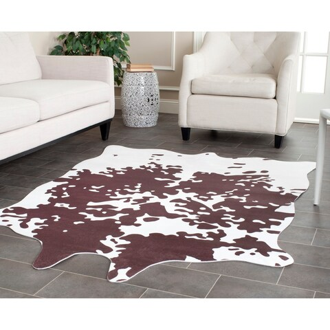 Safavieh Faux Cowhide Brown/ White Polyester Rug - 5' x 6'6""