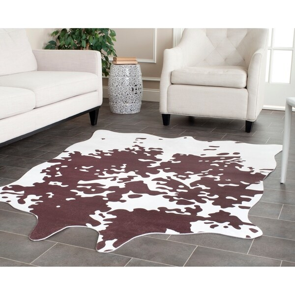 Shop Safavieh Faux Cowhide Brown White Polyester Rug 5