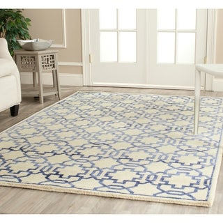 Safavieh Hand-knotted Mosaic Cream/ Purple Wool/ Viscose Rug (9' x 12')