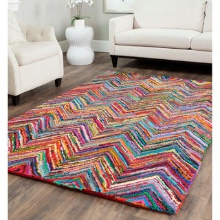 Safavieh Handmade Nantucket Abstract Chevron Pink/ Multi Cotton Rug (6' x 6' Square)