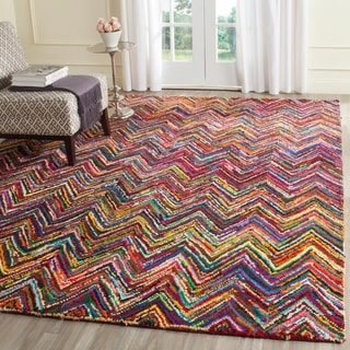 Safavieh Handmade Nantucket Abstract Chevron Pink/ Multi Cotton Rug (9' x 12')