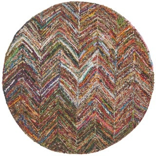 Safavieh Handmade Nantucket Abstract Chevron Multi Cotton Rug (6' x 6' Round)