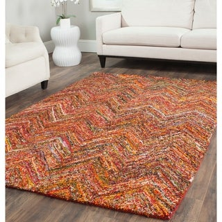 Safavieh Handmade Nantucket Abstract Chevron Multi Cotton Rug (9' x 12')