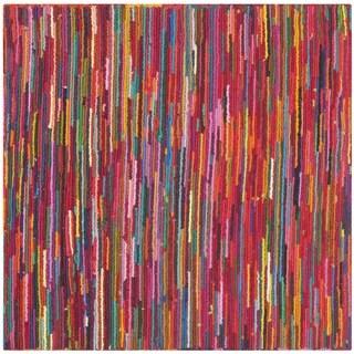 Safavieh Handmade Nantucket Abstract Pink/ Multi Cotton Rug (6' x 6' Square)