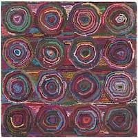 Safavieh Handmade Nantucket Modern Abstract Pink/ Multi Cotton Rug - 6' Square