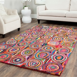 Safavieh Handmade Nantucket Modern Abstract Pink/ Multi Cotton Rug (9' x 12')
