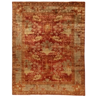 Safavieh Hand Knotted Oushak Red Green Wool Rug 6 X 9