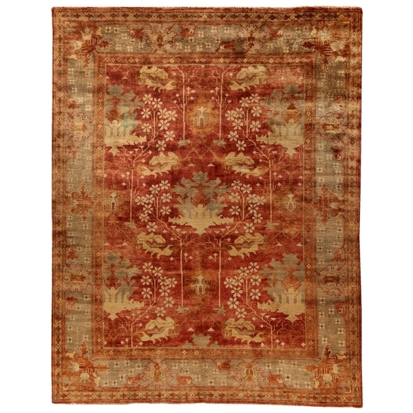 Safavieh Hand-knotted Oushak Red/ Green Wool Rug (6' x 9')