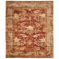 Safavieh Hand-knotted Oushak Red/ Green Wool Rug - 9' x 12'