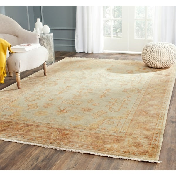 Safavieh Hand-knotted Oushak Soft Green/ Rust Wool Rug - 10' x 14'