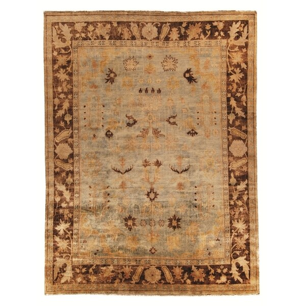 Safavieh Hand-knotted Oushak Soft Green/ Rust Wool Rug