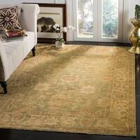 Safavieh Hand-knotted Oushak Green/ Beige Wool Rug - 10' x 14'