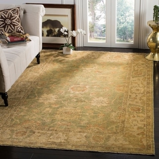 Safavieh Hand-knotted Oushak Green/ Beige Wool Rug (8' x 10')