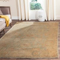 Safavieh Hand-knotted Oushak Dark Green/ Brown Wool Rug - 9' x 12'