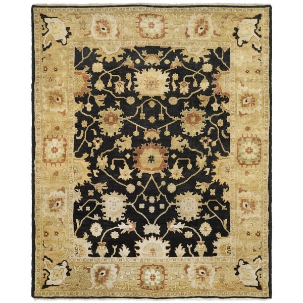 Safavieh Hand-knotted Oushak Black/ Light Gold Wool Rug - 10' x 14'