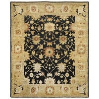 Safavieh Hand-knotted Oushak Black/ Light Gold Wool Rug - 9' x 12'