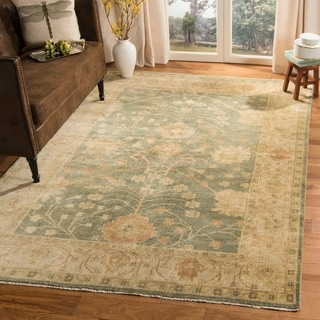 Safavieh Hand-knotted Oushak Medium Blue/ Green Wool Rug (9' x 12')