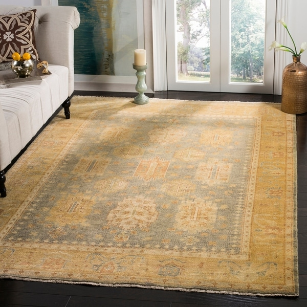 Safavieh Hand-knotted Oushak Grey/ Gold Wool Rug - 8' x 10'