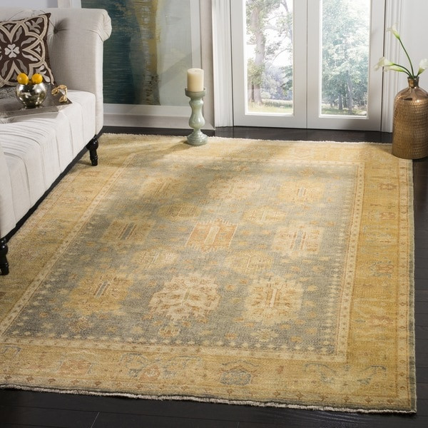 Safavieh Hand-knotted Oushak Grey/ Gold Wool Rug - 9' x 12'