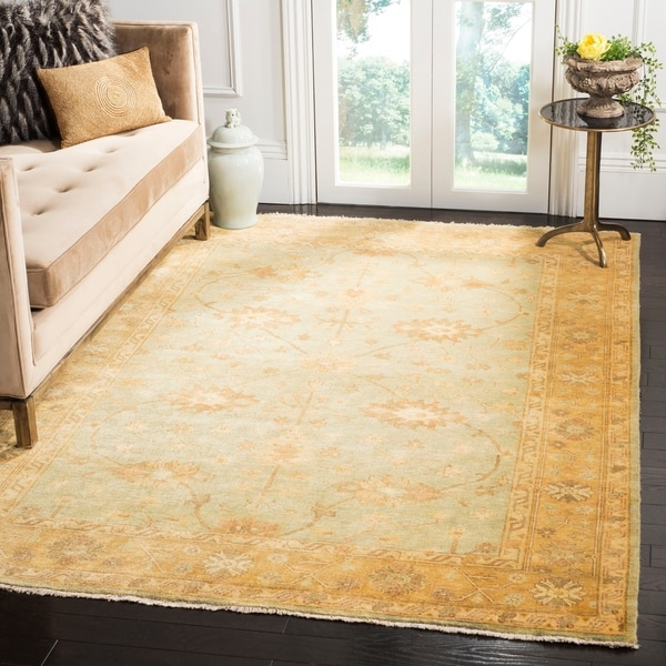 Safavieh Hand-knotted Oushak Light Blue/ Gold Wool Rug - 10' x 14'