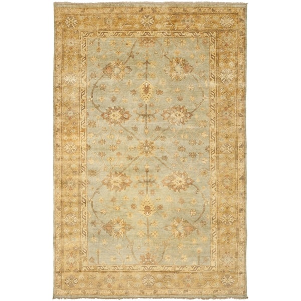 Safavieh Hand-knotted Oushak Light Blue/ Gold Wool Rug (10' x 14')