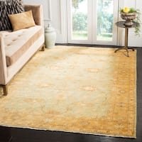 Safavieh Hand-knotted Oushak Light Blue/ Gold Wool Rug - 9' x 12'
