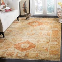 Safavieh Couture Handmade Oushak Traditional Gold / Brown Wool Rug - 6' x 9'