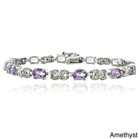 Glitzy Rocks Brass Gemstone and Diamond Accent 'XO' Bracelet