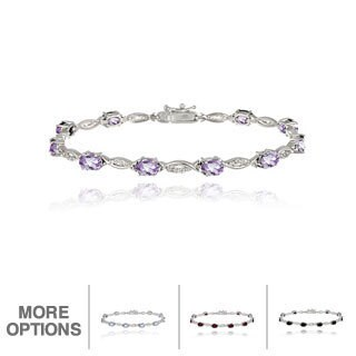 Glitzy Rocks Brass Gemstone and Diamond Accent Twist Bracelet (5 options available)