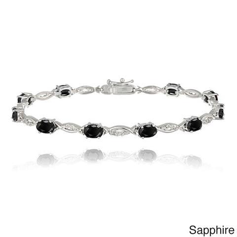 Glitzy Rocks Brass Gemstone and Diamond Accent Twist Bracelet