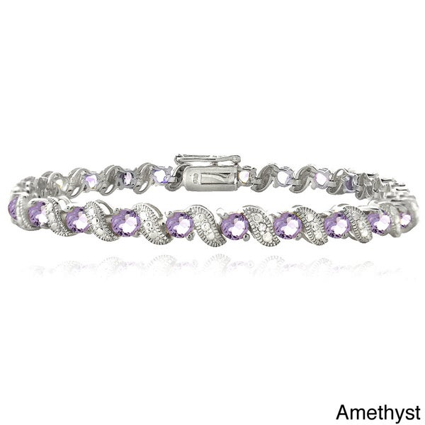 Glitzy Rocks Brass Gemstone and Diamond Accent San Marco Bracelet