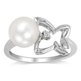 Miadora Sterling Silver Freshwater White Pearl and Diamond Ring (8-8.5 mm)